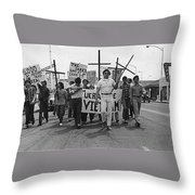 Hispanic Anti-viet Nam War March Tucson Arizona 1971 Black And White Throw Pillow