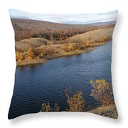 Historic Alaska Gold Dredge In Fall Throw Pillow