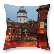 Historic Annapolis And Evening Traffic I Throw Pillow