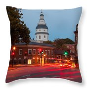 Historic Annapolis And Evening Traffic II Throw Pillow