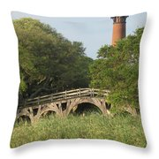 Historic Bridge And Currituck Light Throw Pillow