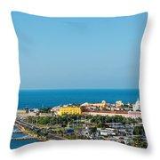 Historic Cartagena And Sea Throw Pillow