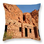 Historic Civilian Conservation Corps Stone Cabins In The Valley Of Fire Throw Pillow