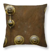 Historic Door In Granada Throw Pillow