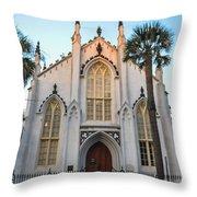 Historic Downtown Church Throw Pillow