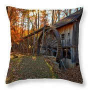 Historic Grist Mill With Fall Foliage Throw Pillow