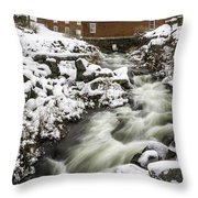 Historic Harrisville Nh In Winter Throw Pillow