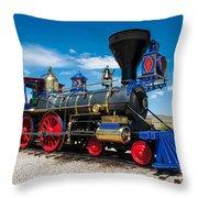 Historic Jupiter Steam Locomotive - Promontory Point Throw Pillow by Gary Whitton