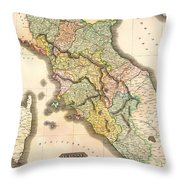Historic Map Of Tuscany 1814 Throw Pillow