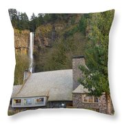 Historic Multnomah Falls Lodge Throw Pillow