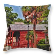 Historic Pensacola With Added Color Throw Pillow