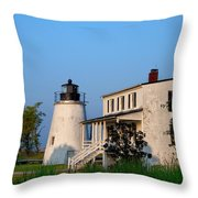 Historic Piney Point Lighthouse Throw Pillow