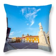Historic Plaza In Cartagena Colombia Throw Pillow
