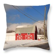 Historic Red Barn On A Snowy Winter Day Throw Pillow
