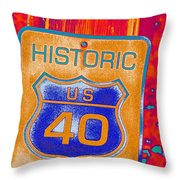 Historic Route 40 Pop Art Throw Pillow