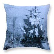 Historic Seaport Blue Schooner Throw Pillow