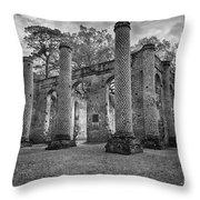 Historic Sheldon Church 5 Bw Throw Pillow