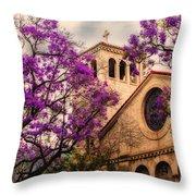 Historic Sierra Madre Congregational Church Among The Purple Jacaranda Trees  Throw Pillow