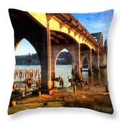 Historic Siuslaw River Bridge Throw Pillow