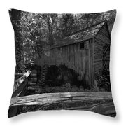 Historical 1868 Cades Cove Cable Mill In Black And White Throw Pillow