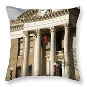 Historical Athens Alabama Courthouse Christmas Throw Pillow