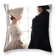 Historical Couple Standing By A Window Throw Pillow