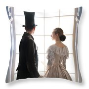 Historical Couple Standing In An Arched Window Throw Pillow