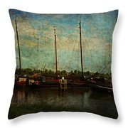 Historical Harbor Woudrichem The Netherlands Throw Pillow