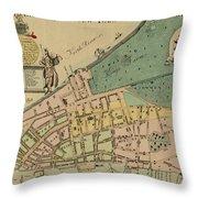 Historical Manhattan Map 1728 Throw Pillow