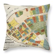 Historical Map Of Manhattan Throw Pillow