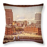 Historical Red Brick Warehouses Throw Pillow