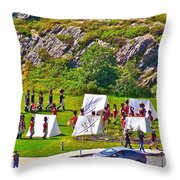 Historical Reenactment Near Visitor's Center In Signal Hill National Historic Site In St. John's-nl Throw Pillow