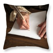 Historical Senior Man Writing With A Quill Pen Throw Pillow