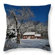 Historical Society House In The Snow Throw Pillow