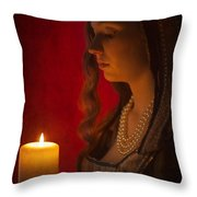 Historical Woman Holding A Candle Throw Pillow