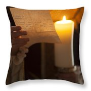 Historical Woman Reading A Letter By Candle Light Throw Pillow