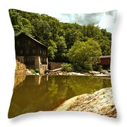 History Along Slippery Rock Creek Throw Pillow
