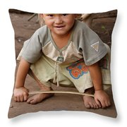 Hmong Boy Throw Pillow by Adam Romanowicz