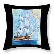 Hms Endeavour Tall Sailing Ship Chart Map Art Peek Throw Pillow