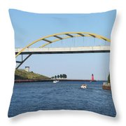 Hoan Bridge Boats Light House 1 Throw Pillow