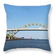 Hoan Bridge Boats Light House 4 Throw Pillow