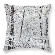 Hoar Frost Covered Trees In Forest Throw Pillow