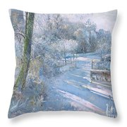 Hoar Frost Morning Throw Pillow by Timothy  Easton