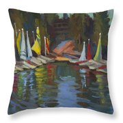Hobie Cats At Lake Arrowhead Throw Pillow