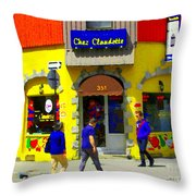 Hockey Art At Restaurant Chez  Claudette Plateau Montreal Sunny Street Scene Carole Spandau  Throw Pillow
