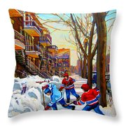 Hockey Art - Paintings Of Verdun- Montreal Street Scenes In Winter Throw Pillow