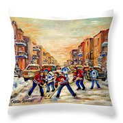 Hockey Daze Throw Pillow by Carole Spandau