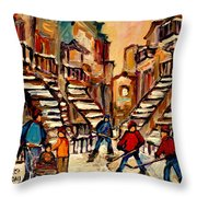 Hockey Game Near Winding Staircases Montreal Streetscene Throw Pillow by Carole Spandau