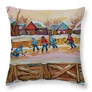 Hockey Game-outdoor Hockey -beautiful Canadian Winter Landscape-hockey Heroes-carole Spandau Throw Pillow