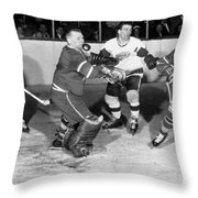 Hockey Goalie Chin Stops Puck Throw Pillow